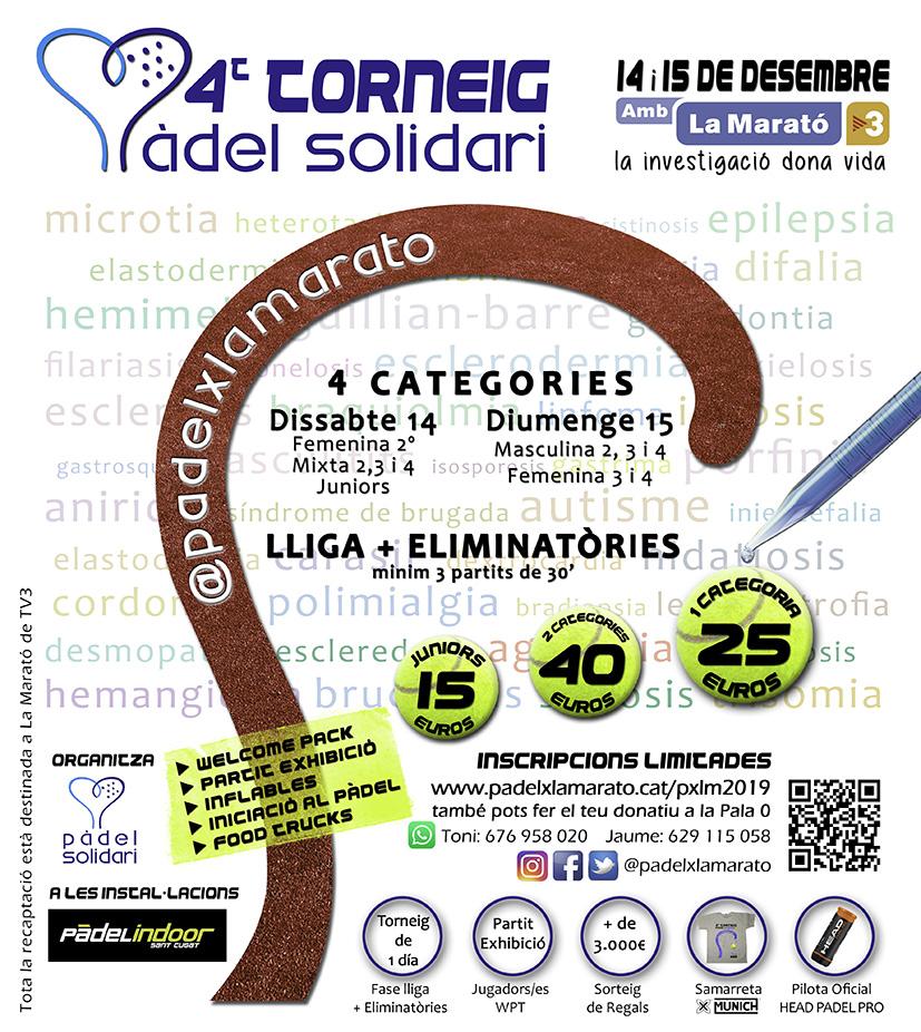 Cartell Provisional 4t Torneig de Pàdel x La Marató de TV3